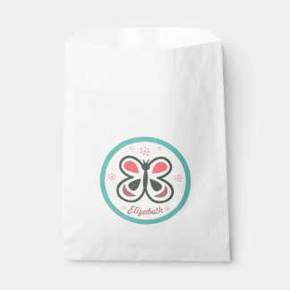 Modern Butterfly Personalized Chevron Kids Party Favour Bag