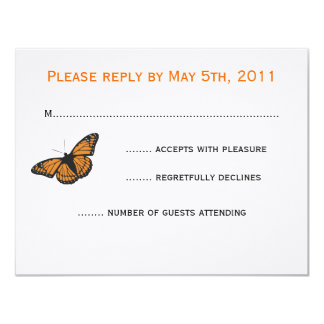 Modern Butterfly RSVP card - Orange