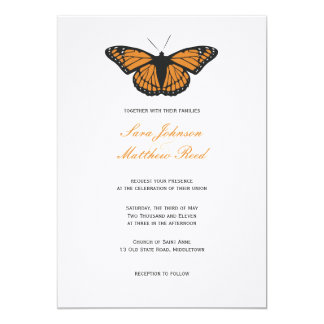 Modern Butterfly Wedding Invitation - Orange