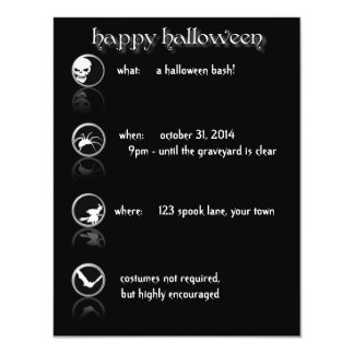 "Modern Button Style Halloween Party Invitation 4.25"" X 5.5"" Invitation Card"