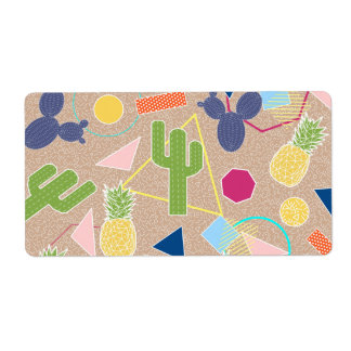 Modern cactus geometric Memphis inspired pattern Shipping Label