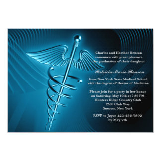 Modern Caduceus Medical School Graduation Invite