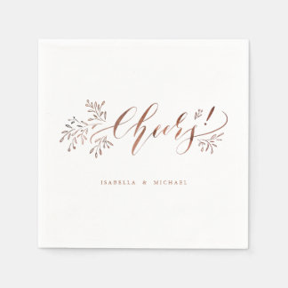 Modern calligraphy cheers rustic floral wedding paper serviettes