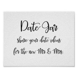 Modern Calligraphy | Date jar ideas sign Poster