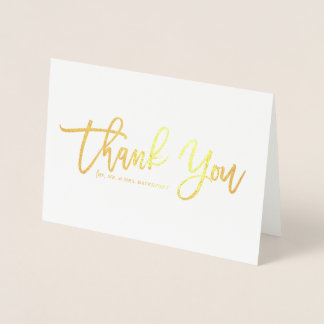 Modern Calligraphy Gold Foil Thank You Foil Card