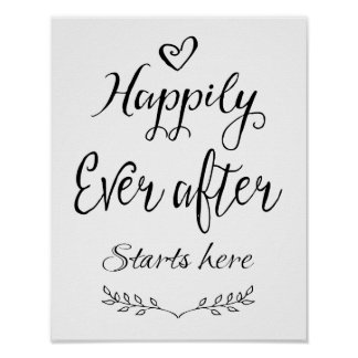 Modern Calligraphy Happily Ever after start print