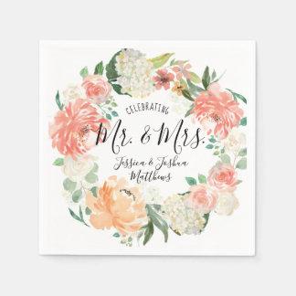 Modern Calligraphy Mr & Mrs Floral Wreath Wedding Disposable Serviettes