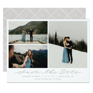 Modern Calligraphy Multi-Photo Save the Date Card