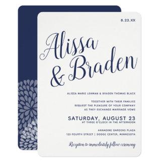 Modern Calligraphy -Navy Blue- Wedding Invitation