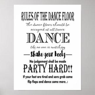 Modern Calligraphy Rules of dance floor wedding Poster