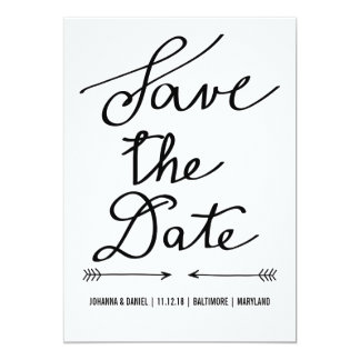Modern Calligraphy Script Wedding Save The Date 13 Cm X 18 Cm Invitation Card