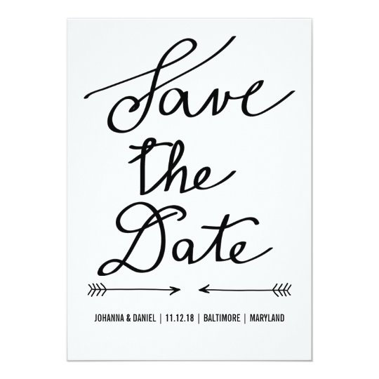 Modern calligraphy script wedding save the date card