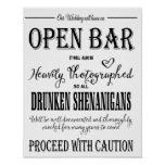 Modern Calligraphy wedding Open Bar print