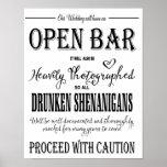 Modern Calligraphy wedding Open Bar print
