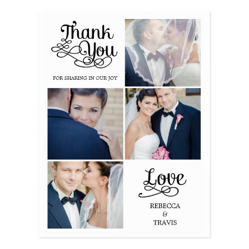 Modern Calligraphy Wedding Thank You Card Post Card