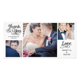 Modern Calligraphy Wedding Thank You Cards Black Personalized Photo Card