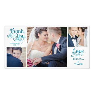 Modern Calligraphy Wedding Thank You Cards Green Photo Greeting Card