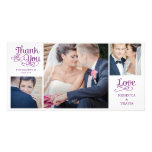 Modern Calligraphy Wedding Thank You Cards Purple Personalized Photo Card