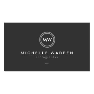 Modern Camera Lens Initials Logo for Photographer Pack Of Standard Business Cards