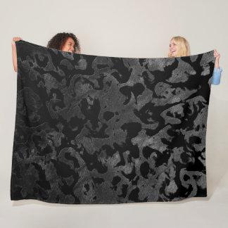 Modern Camo -Black and Dark Grey- camouflage Fleece Blanket