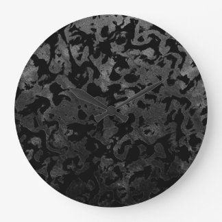 Modern Camo -Black and Dark Grey- camouflage Large Clock
