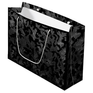 Modern Camo -Black and Dark Grey- camouflage Large Gift Bag