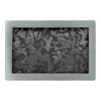 Modern Camo -Black and Dark Grey- camouflage Rectangular Belt Buckle