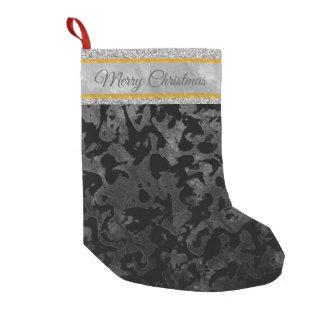Modern Camo -Black and Dark Grey- camouflage Small Christmas Stocking