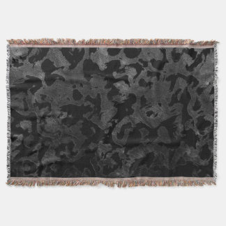 Modern Camo -Black and Dark Grey- camouflage Throw Blanket
