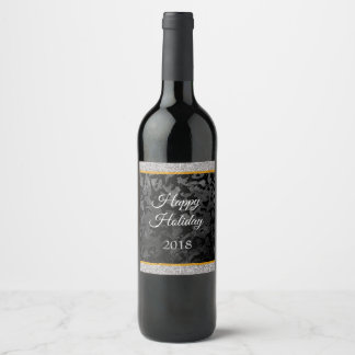 Modern Camo -Black and Dark Grey- camouflage Wine Label