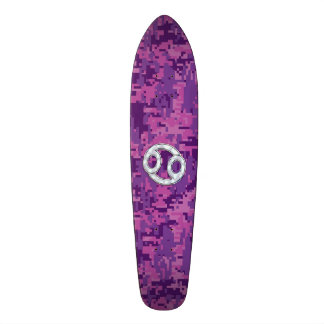 Modern Cancer Zodiac Sign Pink Digital Camouflage Skate Board Decks
