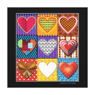 Modern canvas multi coloured hearts