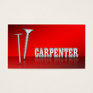 Modern Carpenter Red 2-sided Business Cards
