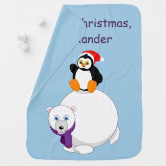 Modern cartoon of a penguin riding a polar bear, baby blanket