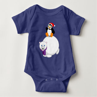 Modern cartoon of a penguin riding a polar bear, baby bodysuit