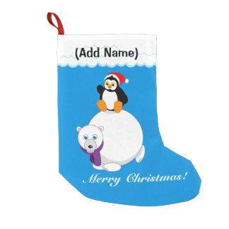Modern cartoon of a penguin riding a polar bear, small christmas stocking