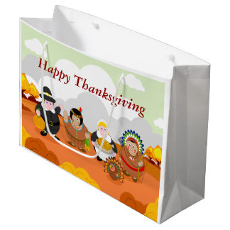 Modern cartoon of the First Thanksgiving 1621, Large Gift Bag