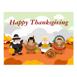 Modern cartoon of the First Thanksgiving 1621, Postcard