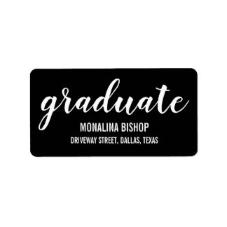Modern Casual Graduate White Typography Black Label