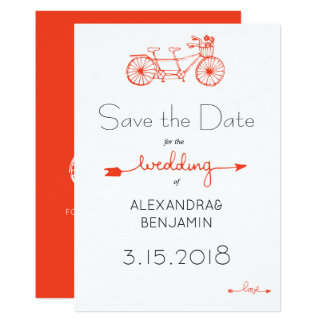 Modern casual tandem bicycle wedding save date card
