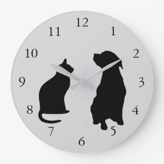 Modern cat dog  silhouettes pets gray background large clock