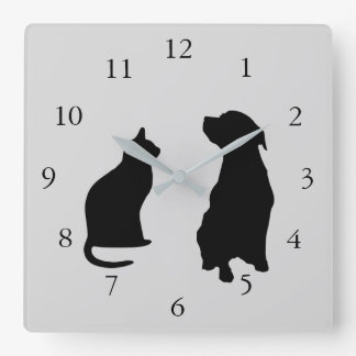 Modern cat dog  silhouettes pets grey background square wall clock