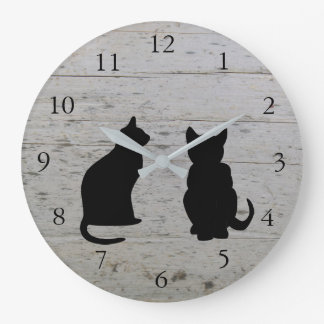 Modern cat silhouettes, pets on driftwood large clock