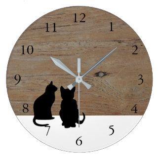 Modern cat silhouettes, pets on wood white wallclock