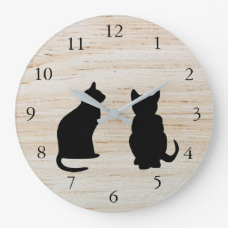 Modern cat silhouettes, pets on wooden background wall clocks