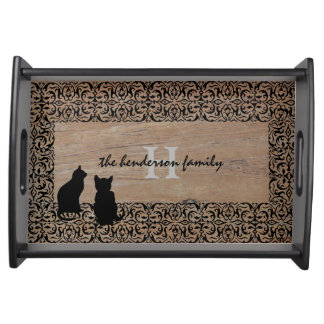 Modern cats vintage black frame monogram name serving tray