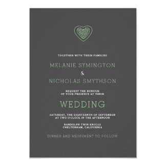 Modern Celtic Heart Irish Wedding Invite, 3981 Card
