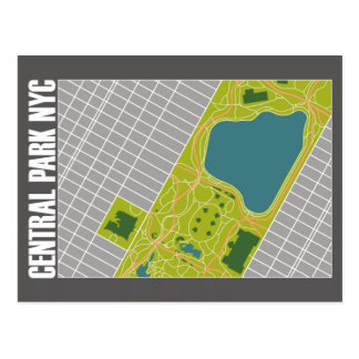 Modern Central Park Map New York City Postcards