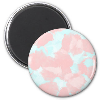 Modern cerulean and pink brush tones 6 cm round magnet