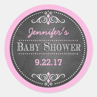 Modern Chalkboard Baby Shower Classic Round Sticker